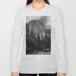 Yosemite National Park, El Capitan, Black and White Photography, Outdoors, Landscape, National Parks Long Sleeve T-shirt