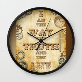Bible Verse Steampunk Way Truth Life Wall Clock