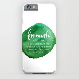 Fernweh Word Nerd - Green Watercolor iPhone Case