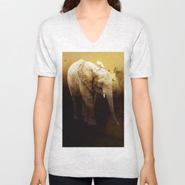 The cute elephant calf Unisex V-Neck