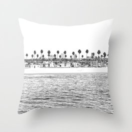 Vintage Newport Beach Print {4 of 4} | Photography Ocean Palm Trees B&W Tropical Summer Sky Throw Pillow