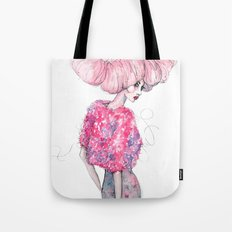 Cotton Candy Hair // Fashion Illustration Tote Bag