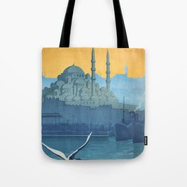 Mid Century Modern Travel Vintage Poster Istanbul Turkey Grand Mosque Tote Bag