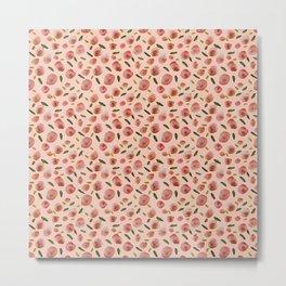 Poppies Hand-Painted Watercolors in Rose Pink on Pale Pink Metal Print