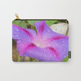 Mauve and Magenta Morning Glory with Water Drops Carry-All Pouch