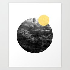 Ripley - abstract marble texture india ink painting minimal white and black with gold canvas art Art Print