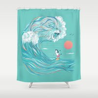 surfing Shower Curtains featuring surfing zebra by Laura Graves