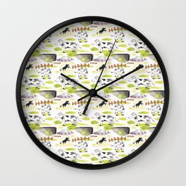 abducted cow pattern Wall Clock
