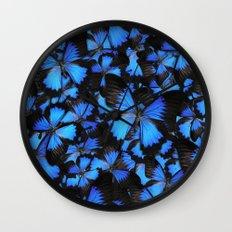 Blue and Black Butterflies Wall Clock