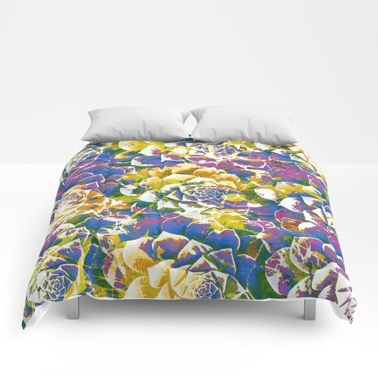 colored succulent in abstract way Comforters