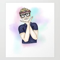 tyler oakley Art Prints featuring Tyler Oakley Pastels by Abby