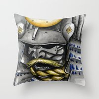 samurai Throw Pillows featuring Samurai by rchaem