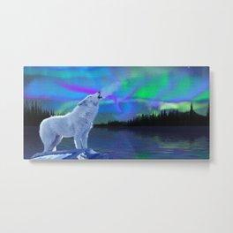 Arctic Prayer - White Wolf and Aurora Metal Print