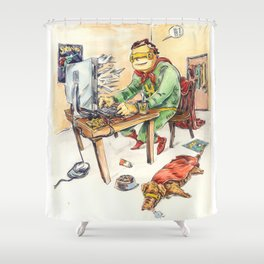 Hero and his Superdog Shower Curtain