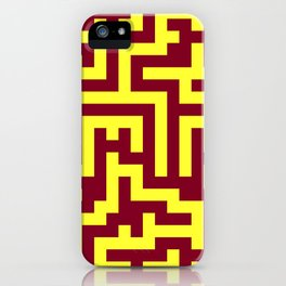 Electric Yellow and Burgundy Red Labyrinth iPhone Case