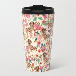 Dapple cream Dachshund doxie floral florals dog breed gifts for pupper must haves Travel Mug