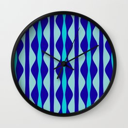 Curvy Blue Stripes Wall Clock