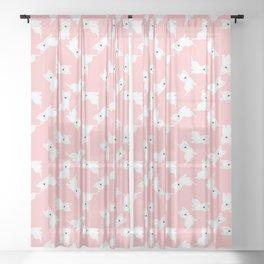 Westie Pink Pattern Sheer Curtain