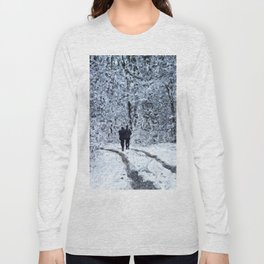 Snow path in the wood, winter walk Long Sleeve T-shirt