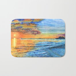 Beach Sunset (Org/Lgt Blue) Bath Mat
