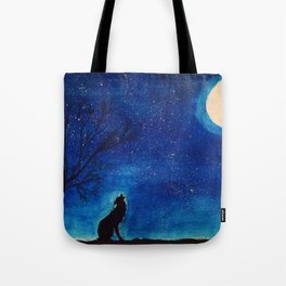 Starry Blues Wolf original watercolor Tote Bag