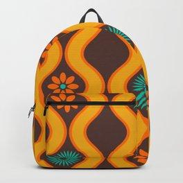 1970's Design Brown Orange Blue Backpack