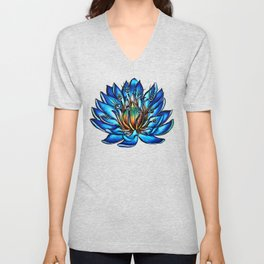 Multi Eyed Blue Water Lily Flower Unisex V-Neck