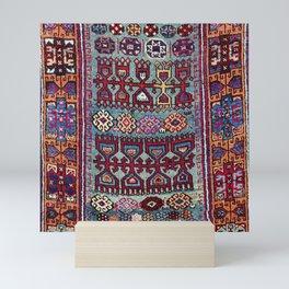 Elazig  Antique Tribal Kurdish Niche Carpet Print Mini Art Print