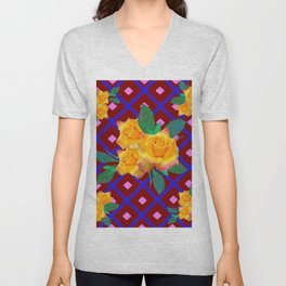 Triple Golden Rose Bouquet Purple-Blue Art Unisex V-Neck