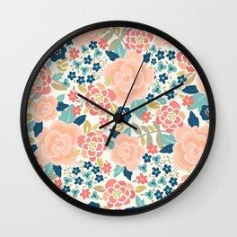 Pretty Floral Peach Wall Clock