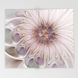 Flourish, Abstract Fractals Art Throw Blanket