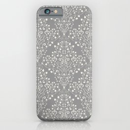 Art Nouveau Flourish Damask Pattern – Neutral Medium Gray iPhone Case