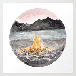 Campfire, Mountain Landscape, Camping Art Print