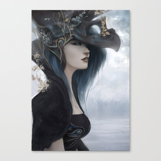 Bluish Black - Mysterious fantasy mage girl portrait Canvas Print