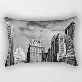 Sao Paulo Skyline - Anhangabau in black and white Rectangular Pillow