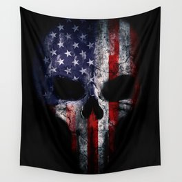 American Flag Punisher Skull Grunge Distress USA Wall Tapestry