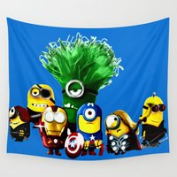 avenger Wall Tapestries featuring Avenger-mini ons mashup by BURPdesigns