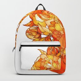 Orange Floral Vase Backpack