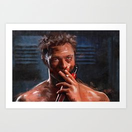 Project Mayhem Tyler - Smoking And Shirtless With A Cold Beer After A Fight Art Print