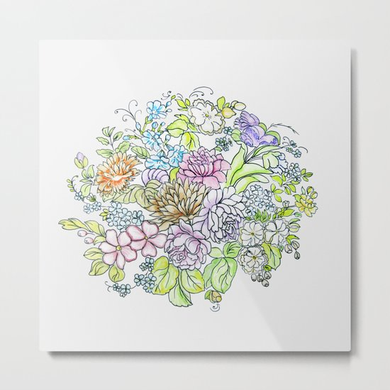 arrangement of flowers in pastel shades on a white background Metal Print