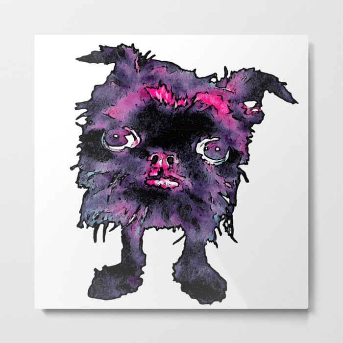Lugga The Friendly Hairball Monster For Ghouls Metal Print