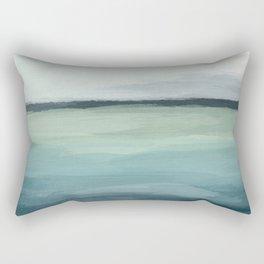Seafoam Green Mint Navy Blue Abstract Ocean Art Painting Rectangular Pillow