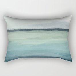 Seafoam Green Mint Navy Blue Abstract Ocean Art Painting Rectangular Pillow