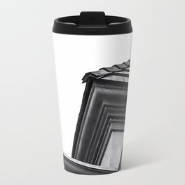 buildings in the city in black and white Travel Mug
