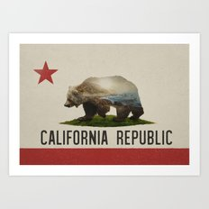 California Grizzly Bear Flag Art Print