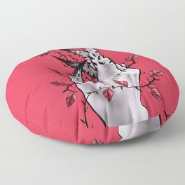 Creepy Deformed Hand With Rose And Thorns | Digital Art Floor Pillow