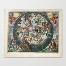 Keller's Harmonia Macrocosmica - Southern Celestial and Terrestrial Hemispheres 1661 Canvas Print