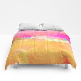 Modern Pastel Rainbow Cascade Abstract Comforters