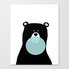 Bear with gum art, modern bear, woodland art, baby bear, peekaboo bear, nursery, kids,children,bear Canvas Print