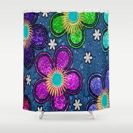 Glitter Flowers Shower Curtain